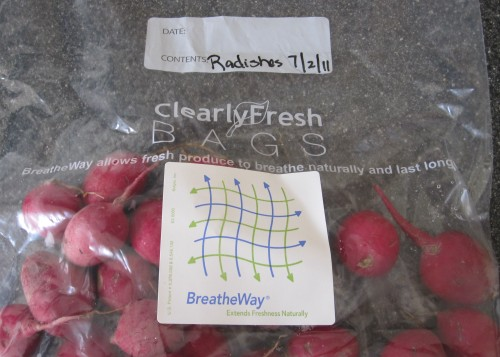 clearly fresh bags with radishes