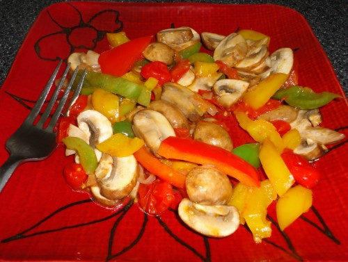 Peppers & Portobellos  cooked