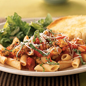 Penne and Chicken with Spiced Tomato Sauce